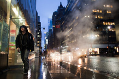 (Che-burashka) Tags: street nyc boy people newyork man rain night dusk candid smoke steam rainy bluehour canonef28mmf18usm urbanlyric