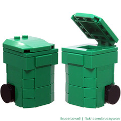LEGO Recycling Bin (Green) (bruceywan) Tags: blue sculpture green wheel trash yard lego can bin container waste recycle recycling rolling photostream moc brucelowellcom