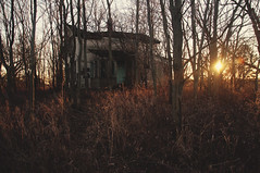 (yyellowbird) Tags: trees winter sunset house abandoned field wisconsin forest
