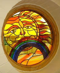 Sun Window (stainedglassartist) Tags: sunwindow stainedglasskingfisher schoolwindows moonwindow moodroomwindowsforaschool stainedglassrobin