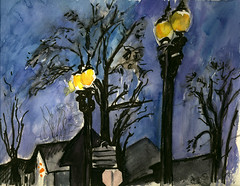 Lamposts on Main Street Winter Dusk (Marcia Milner-Brage) Tags: winter pencil watercolor dusk streetlights brushpen urbanlandscape lampposts