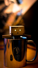 "Day 136/365 - ""Mug"" (peachyboii) Tags: metal silver project toy handle 50mm eyes amazon shiny day f14 sony cardboard mug 365 alpha stainless lightroom danbo a55 stormshield amazonjp danboard cardbo sonyphotographing"