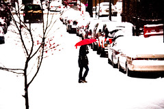 For the red of it... (Rongzoni) Tags: street newyorkcity red snow umbrella harlem 145th