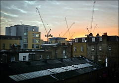 Hackney Rooftops (Sven Loach) Tags: city uk winter england urban building london station architecture modern evening early construction nikon rooftops britain dusk bricks victorian cranes hackney overground chimneys eastlondon haggerston d5100