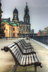 Benches on the Elbe (Shiroko Daleko) Tags: winter cold river germany bench 50mm dresden opera riverside cathedral january freezing hdr elbe holytrinity semperoper ef50 canon60d