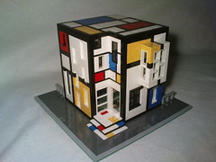 Lego Mondrian house with sidewalk (Jeroen_K) Tags: blue red white house black building yellow architecture modern lego neo custom mondrian piet mondriaan destijl plasticisme