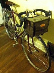 Acorn bag mounted (Andrew_Squirrel) Tags: orange leather bike bicycle trek bag ranger rando tan pass front canvas acorn honey rack hunter 1985 velo touring waxed vo boxy integrated 720 decaleur