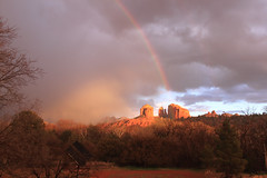 Luminism (sedonakin) Tags: winter light arizona sunlight southwest nature rain canon landscape golden rainbow desert hiking horizon sedona vista redrocks glowing doublerainbow luminous cathedralrock oakcreekcanyon americansouthwest americanlandscape arizonalandscape luminism southwesternlandscape julielake