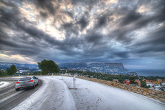 Winter View 1 (marcovdz) Tags: road winter snow france car clouds view snowy hiver voiture route neige provence nuages cassis vue hdr 3xp gineste capcanaille