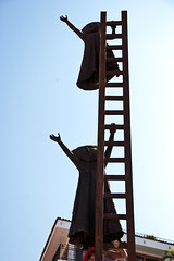Statue reaching up to the sky (FrogMiller) Tags: vacation sky sculpture statue mexico puerto religious resort vallarta puertovallarta ladder pv