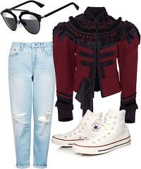 Очки Dior, жакет Marc Jacobs, джинсы Topshop, кеды Converse