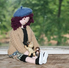 Good day to cuddle with Tonks (Crazyquilter) Tags: handmade crochet tonks knitted beret clothdoll jeanae the100dayproject 100daysofjeanea