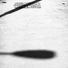 Olympus Mju II - Shadow of the Lamp (Kojotisko) Tags: bw streetphotography brno creativecommons streetphoto rodinal fomapan100 mju2 olympusmjuii