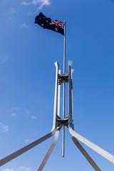Australian Flag, Parliament House, Canberra (russellstreet) Tags: sky flag australia bluesky flags canberra flagpole parliamenthouse australianflag australiancapitalterritory