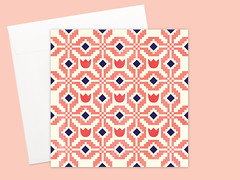 Coral Garden Greeting card or greeting card set (Kata Kiosk) Tags: pink coral shop print square cards design pattern post mail handmade snail artsy card gift etsy crafty simple stationery greeting stationary pixelated snailmail penpal tiled penpals snailmailer penaplling