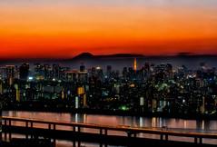 Tokyo Sunset (Yohsuke_NIKON_Japan) Tags: sunset urban japan skyline night tokyo nikon fuji sigma   tokyotower  expressway dust zoomlens 70200mm d60  colorefex  pwpartlycloudy