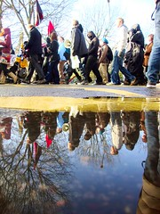 Strike for Pensions (brightondj) Tags: uk people reflection puddle march brighton protest demonstration strike unions n30 tradeunions november30thstrike