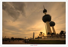 Sunset At Kuwait Towers (Damon | Photography) Tags: travel sunset sun set photography high nikon dynamic towers sigma kuwait mm mapping range 1020 damon tone hdr hoya q8 clp sigma1020mm travelphotography d90 photomatix tonemapping at nikond90