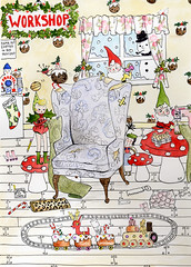 Xmas Card Part 2 (Andrea Kett) Tags: christmas gingerbread toadstool elves trainset andreakett andreakettillustration elvesworkshop mrfrostydrinksmaker