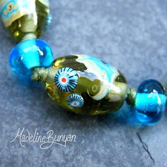 """Olive and Turquoise with Shard Beads Lampwork Bead Bracelet on cord • <a style=""""font-size:0.8em;"""" href=""""https://www.flickr.com/photos/37516896@N05/6499724677/"""" target=""""_blank"""">View on Flickr</a>"""