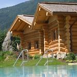 Sauna Hütte im Sommer