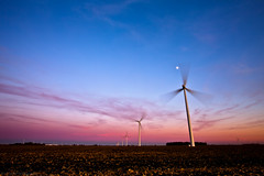 Wind Field Sunset (Eric Hines Photography) Tags: sunset moon field timelapse indiana windfarm turbines 1635mmf28lii 5dmarkii