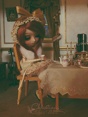 Pending.... (Kiky) Tags: kikyo pullip custom faceup makeup christina doll ooak created mise en scene tea party rust rousse freackles taches de rousseurs waiting groove obitsu sleeping kdollcustom setting france poupe cute divers art