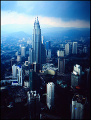 Petronas Towers (milone) Tags: this photo 645 rocks fuji petronas towers velvia bronica kuala lumpur malaisia blinkagain
