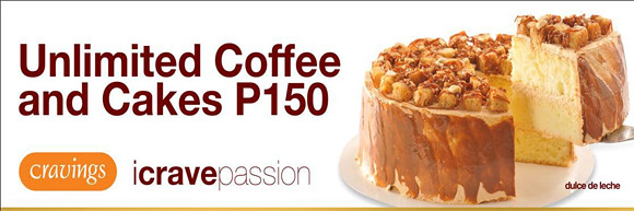 Unlimited Coffee and Cakes from Cravings for only Php 150