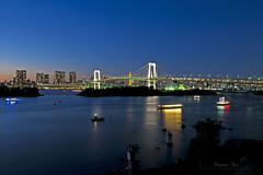 Odaiba Blues (Mr. FRANTaStiK) Tags: longexposure nightphotography bridge sunset skyline reflections landscape niceshot nightscape tokyotower odaiba bluehour tokyobay rainbowbridge tokyojapan wideangleshot francistanphotography fongetzphotgraphy
