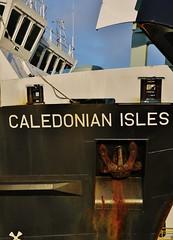 Caledonian Isles Detail (Sunset Dan) Tags: uk travel winter england sun snow cold weather cali ferry scotland clyde boat day ship crossing fresh hills scot motor calmac brodick arran isleofarran britian daytrip mv carm ardrossan macbrayne 2011 caledonianmacbrayne motorvessel mvcaledonianisles ukferry caliisles