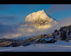 The mountain [explore #49] (Richard Larssen) Tags: blue winter sky house mountain snow tree nature norway clouds forest landscape norge scenery sony norwegen explore richard alpha slt a77 sogn fjordane explored larssen sal18250