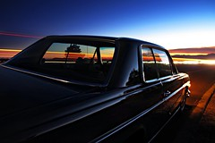 Sunset over the Mojave Desert (mercedesmotoring) Tags: sunset green classic car vintage francis mercedes benz mercedesbenz 1973 jg 250c mercedesmotoring mercedesmotoringcom