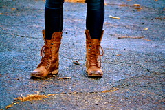urban (visionaryreactions) Tags: winter urban brown cold leather vintage nikon shoes boots lace hipster ground jeans tied scuffed d3100