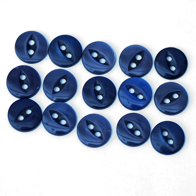 15 vintage small dark blue fisheye buttons – 11mm
