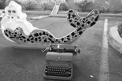 Fishing Stories (Culture Shlock) Tags: street typewriter sex trash advertising junk treasure mermaids antiques mermaid sell collectibles prettygirls swapmeet fleamarkets