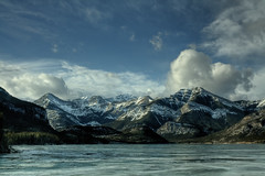 Chillin' with the mountains (JoLoLog) Tags: trees winter lake canada ice water joe alberta rockymountains mountians kananaskiscountry barrierlake canadianrockies canonxsi mygearandme mygearandmepremium mygearandmebronze mygearandmesilver mygearandmegold mygearandmeplatinum mygearandmediamond