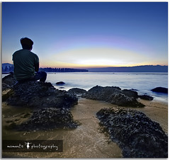 i travel..to experience the unlimited beauty that the world has to offer.. (PNike (Prashanth Naik)) Tags: ocean blue red sea sky orange india selfportrait water sunrise nikon rocks asia long exposure maharashtra bluehour selfie konkan d7000 pnike