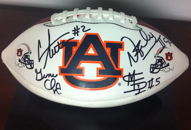 Cam Newton, Nick Fairley, Michael Dyer and Gene Chizik Autograph Football