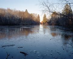 Marblehead, MA. (Brian Maryansky) Tags: film ice landscape frozen pond marblehead skating 6x7 mamiya7