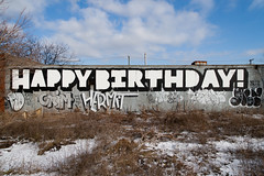 happy birthday! (ExcuseMySarcasm) Tags: urban streetart graffiti unitedstates yeah grim michigan detroit dont craig happybirthday roller hermit abandonment paid marm guerrillaart excusemysarcasm