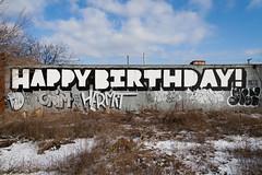 happy birthday! (ExcuseMySarcasm) Tags: urban streetart graffiti unitedstates yeah grim michigan detroit dont craig happybirthday roller hermit abandonment paid marm guerrillaart excusemysarcasm