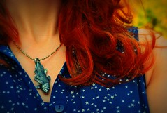 Coelacanth (lostvestige) Tags: blue red woman fish green colors girl hair outside star photo necklace dress image picture curly pewter coelacanth nikond5100