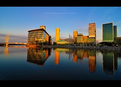 BBC (pRaTuL rAgHaV) Tags: city uk morning blue reflection manchester early twilight media angle centre wide super tokina sd bbc broadcasting if pro salford quays f28 failed 116 dx atx britis