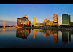 BBC (pRaTuL rAgHaV) Tags: city uk morning blue reflection manchester early twilight media angle centre wide super tokina sd bbc broadcasting if pro salford quays f28 failed 116 dx atx britis