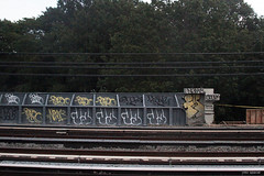 Klame x Ja x Farao x Snob x Nemz (Into Space!) Tags: urban ny newyork graffiti li tag tags longisland queens graff ja xtc kl lirr hollow bombing throw fa fill snob longislandrailroad fillin farao throwie jaone klame nemz intospace