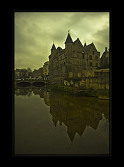 Dark Ages (LiesBaas) Tags: bridge sky reflection tree green water yellow clouds buildings groen belgium belgie belgië wolken boom be brug geel ghent gent 2012 luchten mirroring gebouwen spiegelingen liesbaas darkagesbyliesbaas