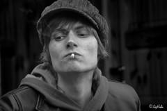 Smoker (Sig Holm) Tags: portrait blackandwhite bw island iceland islandia cigarette son smoking sw smoker sh jt sland islande icelandic portrett islanda sgaretta ijsland svarthvt islanti  sonur    slenskt        reykingamaur