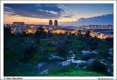 Modiin Dusk (Ilan Shacham) Tags: city sunset tree grass clouds landscape outdoors israel cityscape dusk hill towers almond   modiin       titora