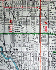 Chicago IL 1946 (davecito) Tags: red chicago green illinois midwest map cities planning 1950s transportation cartography urbanplanning drafting streetmap citymap randmcnally oldmaps largestcities